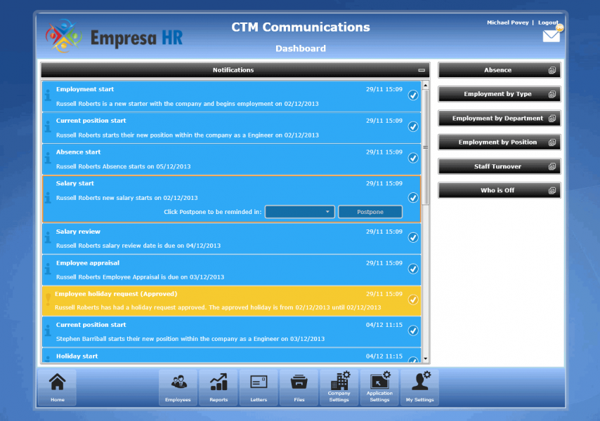 Empresa HR Software Company Dashboard
